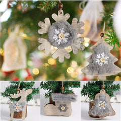 Hout Star / Bell / Hat Kersfees Hang Ornament