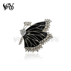 Vintage Black Butterfly Brooch for Woman