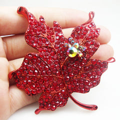 Red Maple Leaf Rhinestone Crystal Woman Vintage Brooch Pin