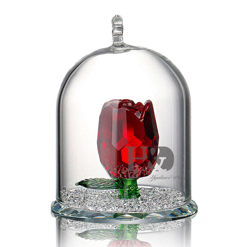 X'mas Gifts New Beauty and the Beast Rose Glass Crystal Enchanted Rose in Terrarium Pendant Valentines Day Souvenir Lover's Gift