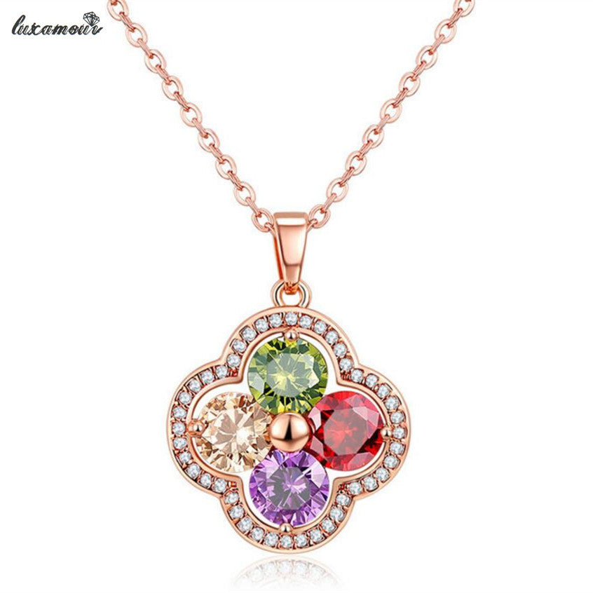 Quality Clover Pendant Necklace for women rose gold color Fine Austrian crystal Jewelry Valentine's Day best gifts  MSN075