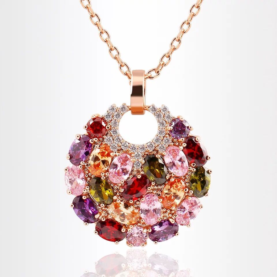 New Top Quality colorful AAA zirconia Pendant Necklace for women rose gold color Jewelry Valentines gifts bijoux MSN077
