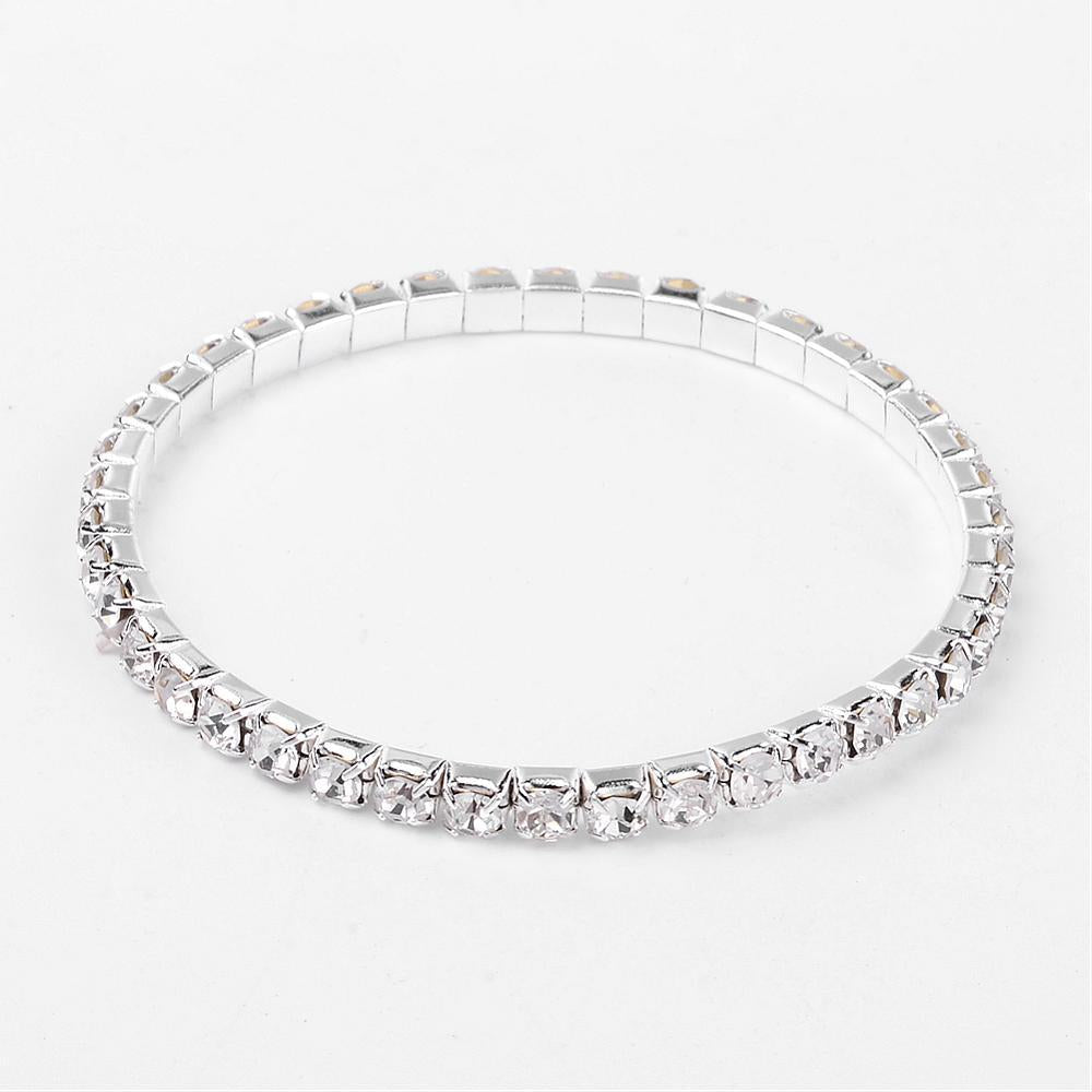 24pcs Dames Stretch Bruid Wit Strass Crystal Armbande 2015 Elasties Verzilverd Manchet Bangle Valentynsdag Geskenke 50mm