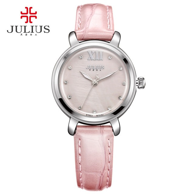 JULIUS Pink Watch Leather Bracelet Women Watches Clock For Women Water Resistant Whatch Birthday Valentine Gift for Girl JA-945