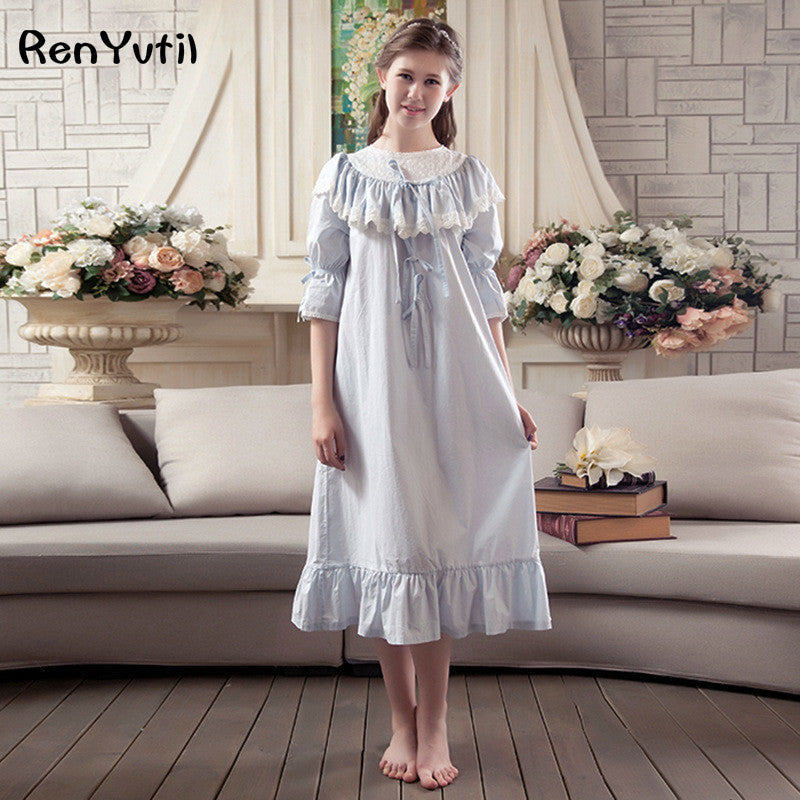 RenYvtil Valentine's Gift Merched Fictoriaidd Martha Vintage Nightgown Lightweight Cotton Nightshirt Flounced Brodwaith Sleepwear