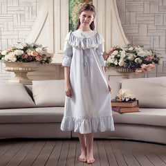 RenYvtil Women's Valentines Gift Victorian Martha Vintage Nightgown Lightweight Cotton Nightshirt Flounced Embroidery Sleepwear