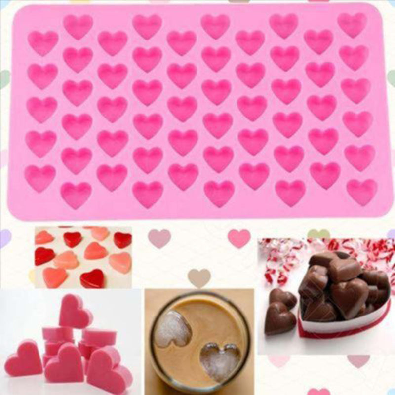 Kitchen Baking Tools 55 Holes Cute Heart Style Silicone Chocolate Mold Ice Candy Lolly Muffin Mould Valentine Gift Maker K0136