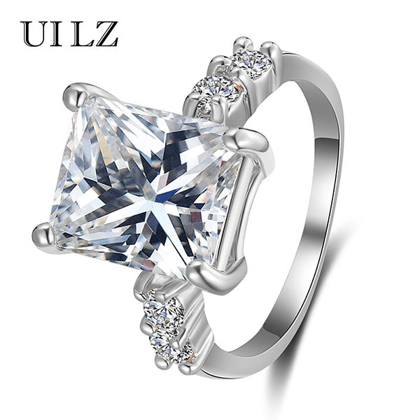 UILZ Fashion Spiral CZ Crystal Rings for Women Valentine Present White Color Finger Ring Big Cubic Zirconia Jewelry JMRP173
