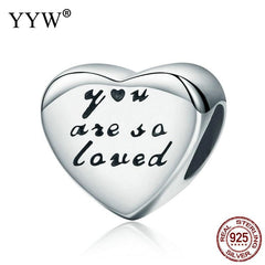 Sterling Silver Charm heart Bead with troll 10x10x7mm Hole:Approx 4.5mm