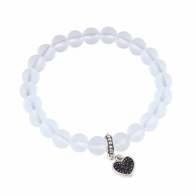 New Sale Brand TongKwok Bean Crystal Ball Bracelet With Heart Pendant For Women Valentine Gift Stellux High Quality #127108