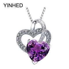 YINHED Romantic Double Heart Pendant Necklace 925 Sterling Silver Crystal Necklace Jewelry for Women Valentines Gift ZN080