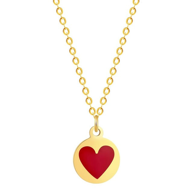 Todorova 10pcs Gold Silver Romantic Fancy Red Heart Necklaces & Pendants Women Men Lovers' Jewelry Valentines Gift Wholesale