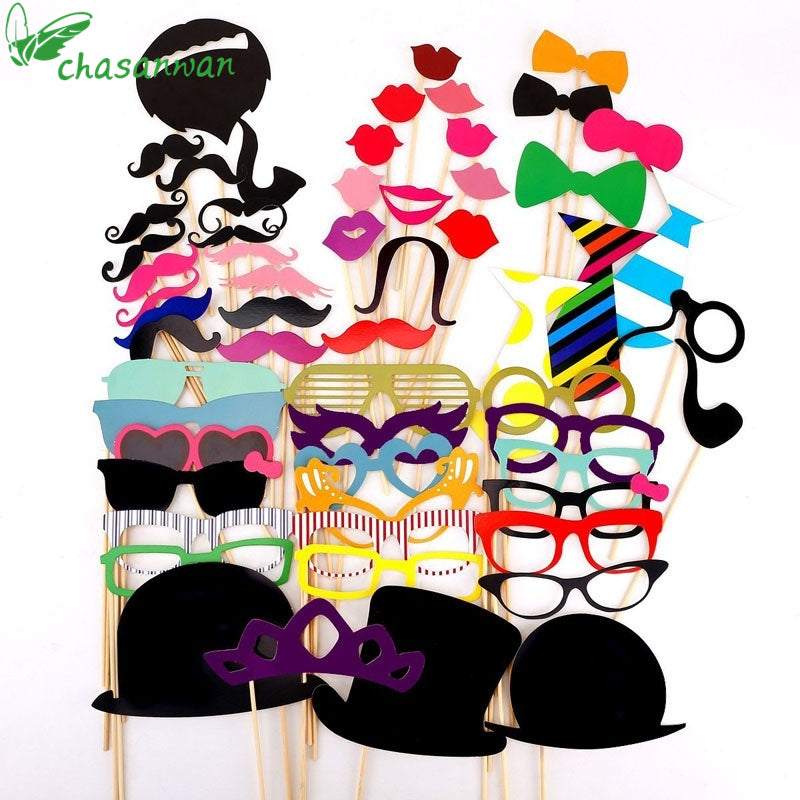 58pcs DIY Photo Booth Props trou troue / brille / Bowtie / Hoed styl vir Halloween Party