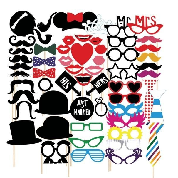 58pcs DIY Photo Booth Props wedding Moustaches/Glasses/Bowtie/Hat style for halloween Party