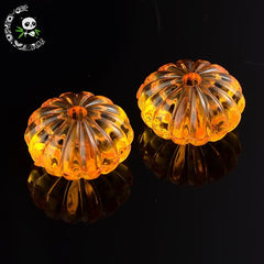 Transparent Acrylic Beads for Halloween, Pumpkin, Gold, 14mm in diameter,  9.4mm thick, hole: 3mm, about 620pcs/500g