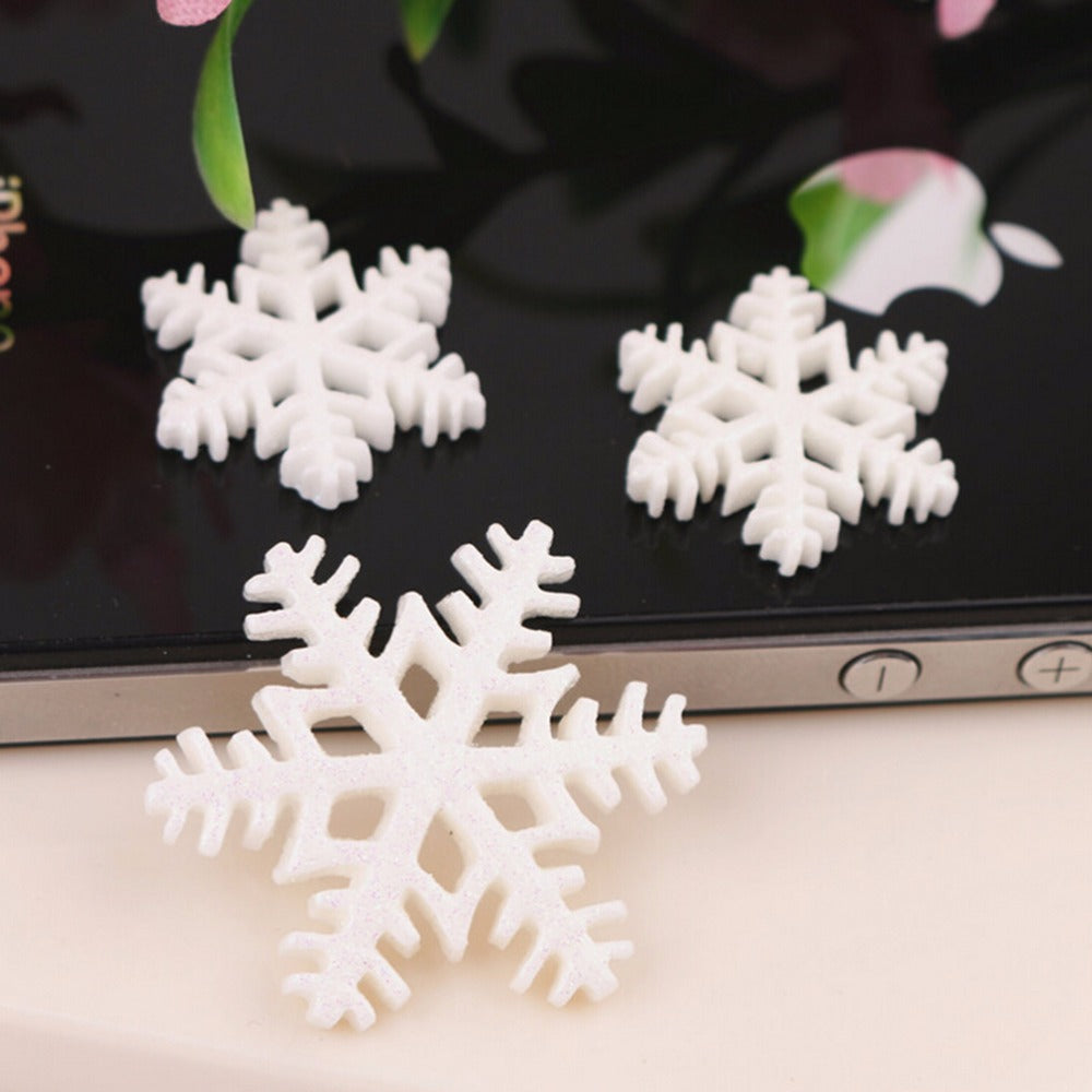 123456 10 / 30Pcs Flocon De Neige Blanc Merry Christmas Resin Flat Backs Craft Mini Décoration De Noël Fournitures