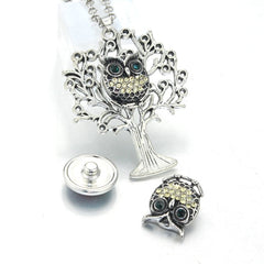 18mm 12mm Tree of Life Snap Button Vedhæng 60CM Halskæde Charms Fashion