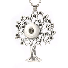 18mm 12mm Tree of Life Snap Button Pendant 60CM Necklace Charms Fashion