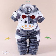 Winter Baby Clothing Set Bows Velvet Print Hooded + Pants Newborn Baby Clothes Christmas