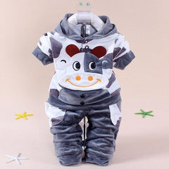 Winter Baby Clothing Set Cows Velvet Print Hooded + Pants Newborn Baby Clothes Christmas