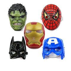5pcs/lot,Spiderman Hulk Batman Captain America Ironman Avengers  Face Mask Plastic Children Halloween Masquerade Party Toys