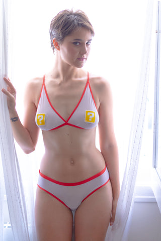 Super Mario bros question block lingerie set | Geek Skin - Geek Skin - Geek Underwear -