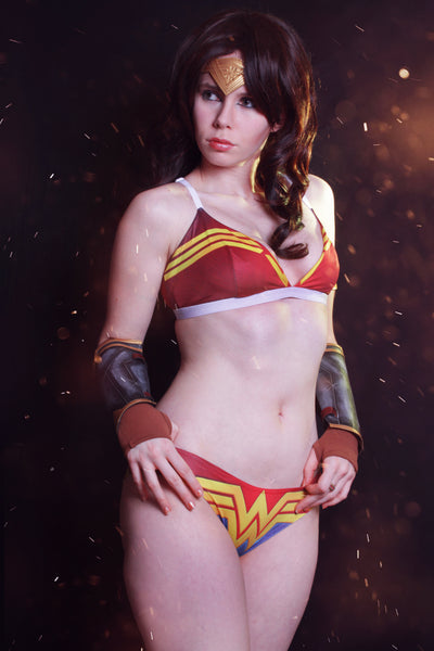 Underwear set inspired by DC Wonder woman superhero uniform lingerie style for geek and curvy women - Geek Skin - Geek Underwear -