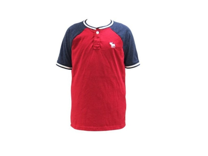 Abercrombie Kids Icon Henley Red Tee (221-651-4236-050)