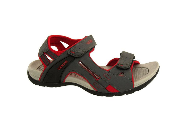 VENTO Casual Men's MAKALU Sandal (10, GREY/RED)