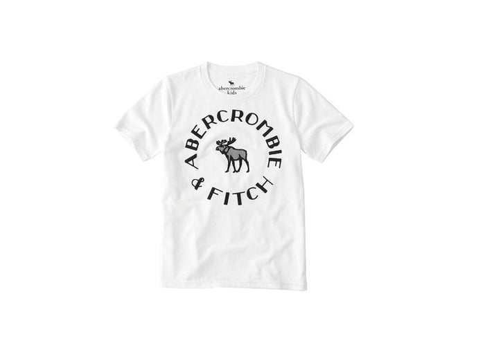 Abercrombie Kids Logo Graphic Tee White (223-616-0069-001)