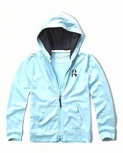 Abercrombie Kids contrast lining full zip hoodie Light Blue (224-663-0669-026) 15/16