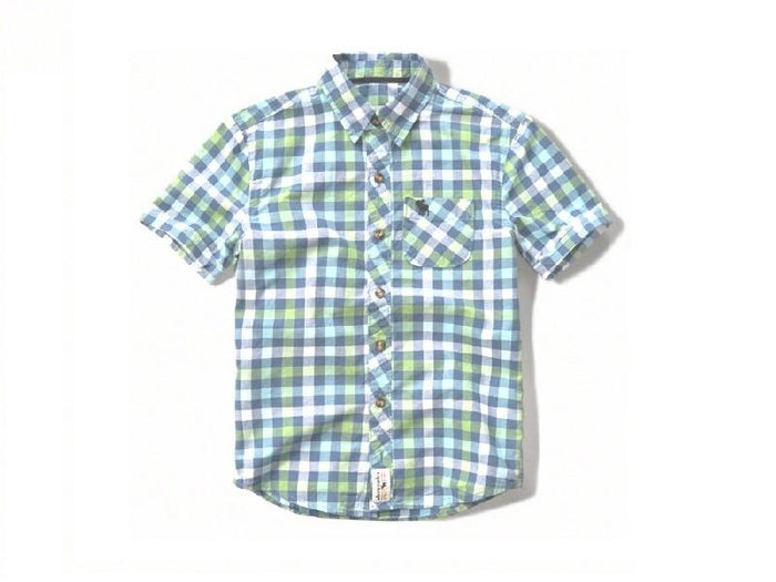 Abercrombie Kids short sleeve patterned poplin shirt Navy Check (225-670-0130-026)