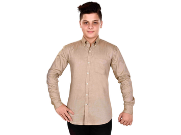 Dry Leaf Beige Plain Men's Cotton Shirt