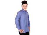 Dry Leaf Blue Dobby Check Men's Cotton Shirt