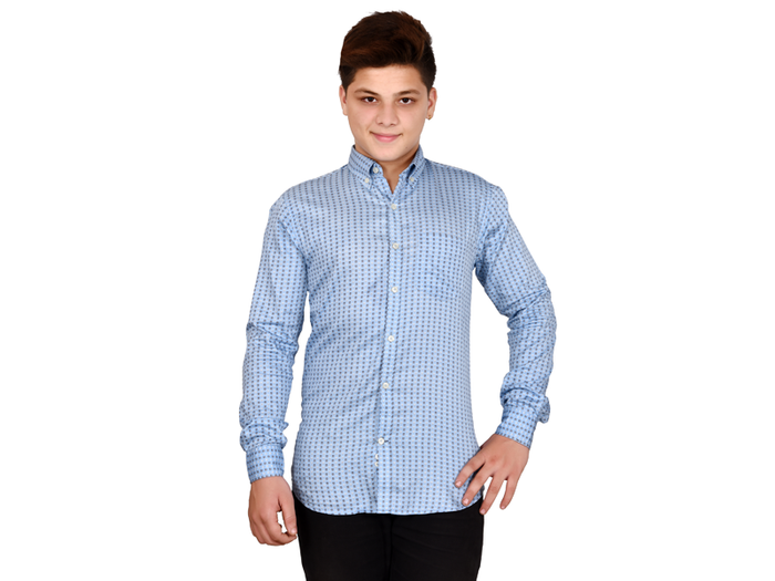 Dry Leaf Blue Printed Twill Men's Cotton Shirt