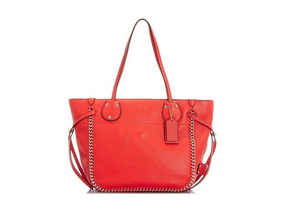 Coach Whiplash Leather Tatum Tote in Light Gold/Coral Handbag F34398
