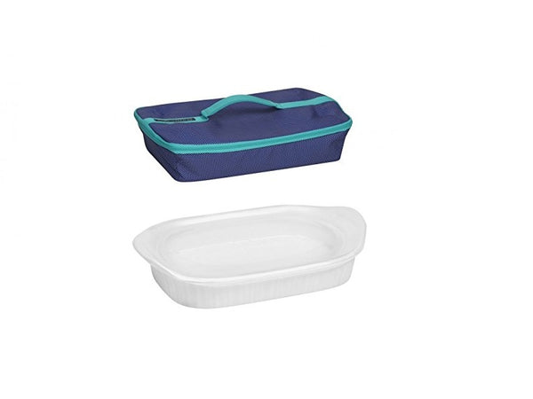 Corningware French White 3 Quart Oblong Baker W/ Blue Portable Set