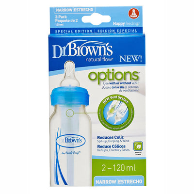 Dr Brown's Options Narrow Neck Baby Bottle - Blue, 4 oz / 120 ml (2-Pack)