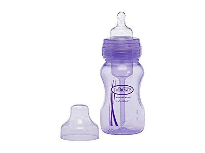 Dr Brown Wide Neck Purple Baby Bottle