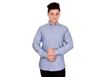 Dry Leaf Dark Blue Chambray Men's Cotton Shirt