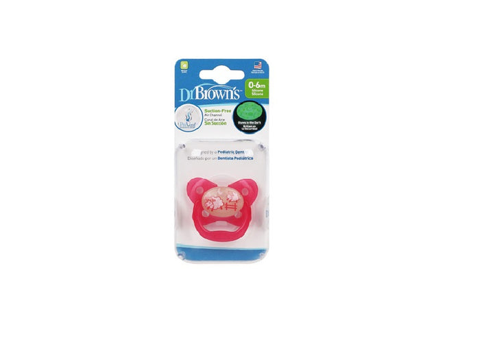 DR BROWN'S PREVENT GLOW IN THE DARK BUTTERFLY SHEILD PACIFIER PINK STAGE 1 (0-6M)