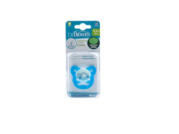 DR BROWN'S PREVENT GLOW IN THE DARK BUTTERFLY SHEILD PACIFIER BLUE STAGE 1 (0-6M)