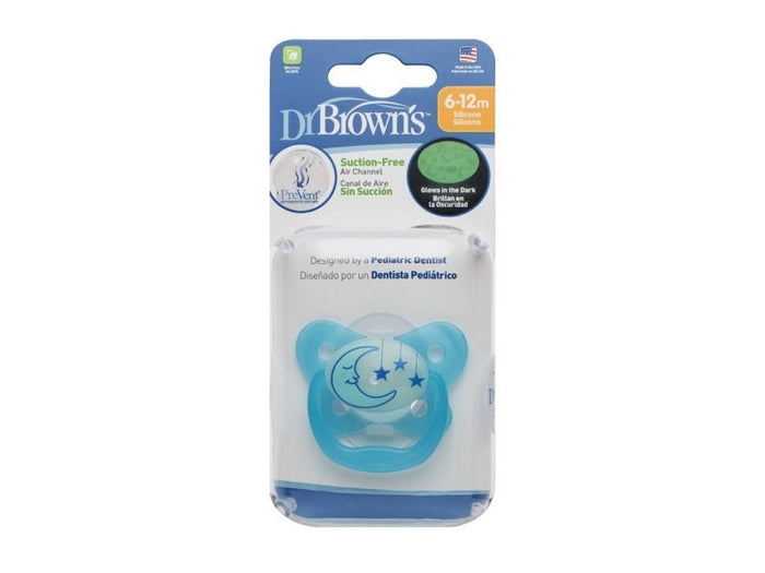 DR BROWN'S PREVENT GLOW IN THE DARK BUTTERFLY SHEILD PACIFIER BLUE STAGE 2 (6-12M)