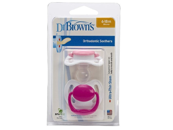 Dr Brown Pacifier with Handle Pink