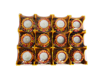 Kanchan Kalash Wax Filled Matki Shape Diya Candles (Set Of 12)