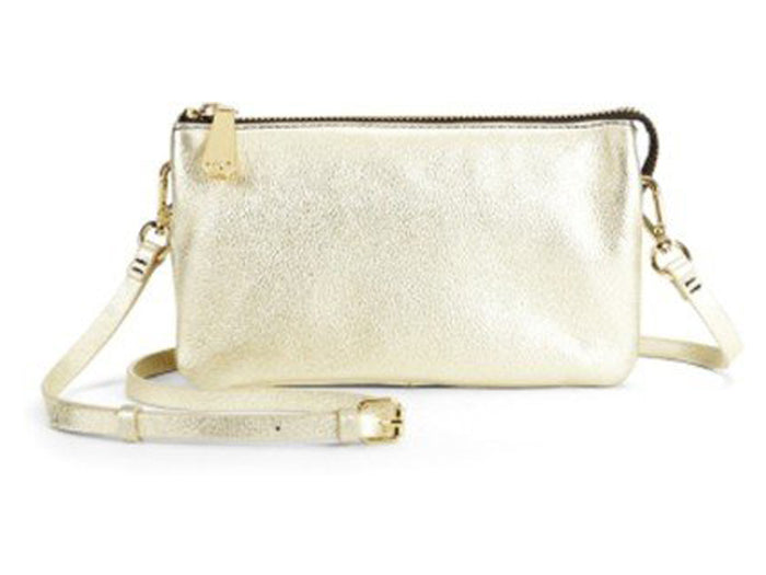 Kenneth Cole Alton Metallic Leather Crossbody - Gold