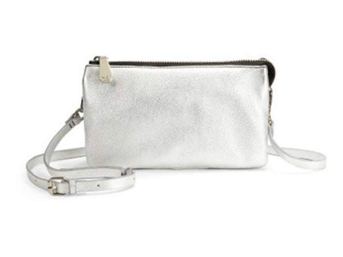 Kenneth Cole Alton Metallic Leather Crossbody - Silver