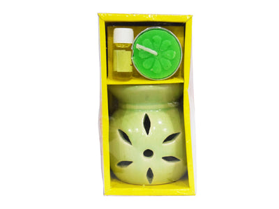 Pearl Regular Ceramic Aroma Burner with 1 Tea Light Candle & Aroma Oil