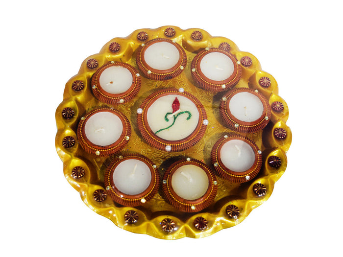 Pearl Designer Attractive & Fancy Diya Thali With 9 Diyas