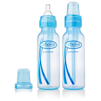 Dr Brown's Options Narrow Neck Baby Bottle - Blue, 8 oz / 250 ml (2-Pack)